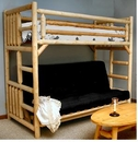 Cedar Twin/Futon Log Bunk Bed