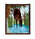 Deer in River Art Glass Window