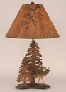 Double Pine Tree w/ Elk Table Lamp