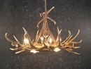 Elk Six Antler Chandelier with 3 Downlights