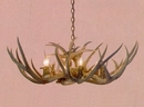 Mule Deer Ranch Style 6-Lamp Antler Chandelier