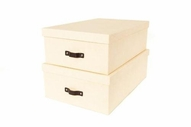 Bigso Closet Boxes - Cream Canvas, Set of 2