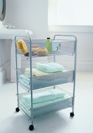 Silver Mesh Rolling Cart