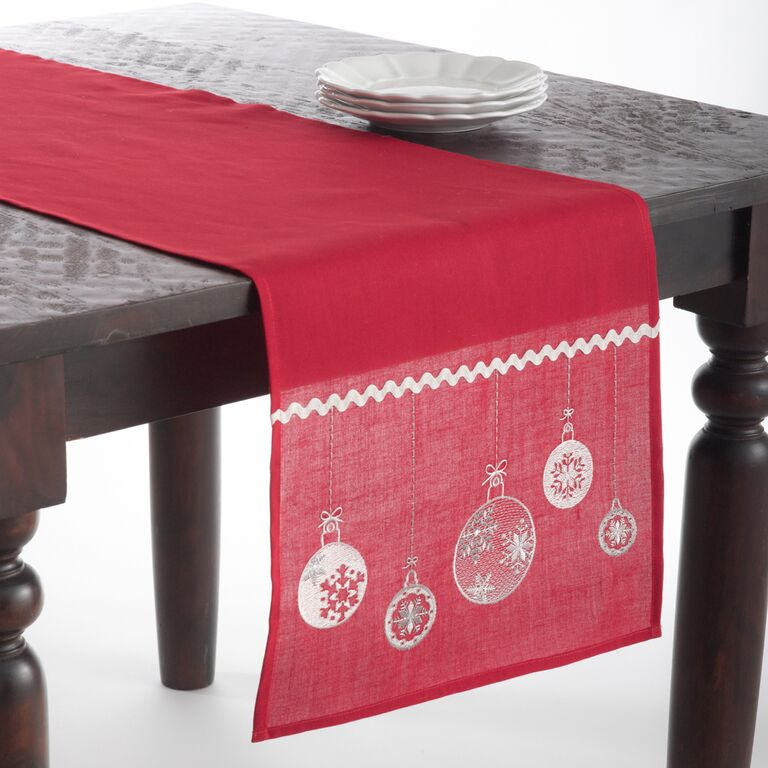 Ornament table Embroidered Christmas red Runner, Red runner Table christmas