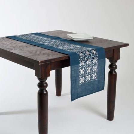 blue  Navy Blue navy runner Runner, table Table Embroidered