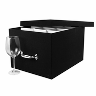 Euro Stemware China Storage Chest, Black Booklinen Cover