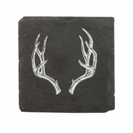 Rustic Holiday Antler Slate Coasters SET/8