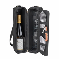 Sunset Wine Carrier for Two, Black/Gingham