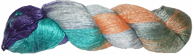 100g Mulberry QUEEN SILK 300 yrd Worsted Luxury Yarn Silver Aqua Orange