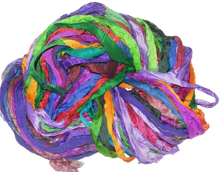 Ribbon Yarn : Recycled sari silk ribbon yarn, JL Yarn