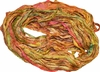 100g Sari SILK Ribbon Art Yarn Orangegreen Fall Shades