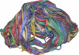 100g Sari SILK Ribbon Yarn Peacock