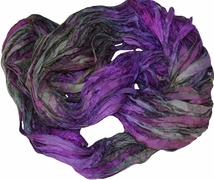 Sari SILK 100g Ribbon Yarn Purple Garden