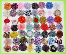 "30 QTY Print Shabby Chiffon Fabric Hair FLOWERS 2"" - 2.5"" mix"