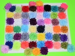 "30 QTY Solid Shabby Chiffon Fabric Hair FLOWERS 2"" - 2.5"""