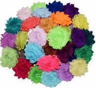 "Shabby flowers 30 QTY Shabby Chiffon Fabric Hair FLOWERS 2"" - 2.5"" mix Solid"