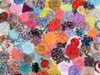 "30 QTY Shabby Chiffon Fabric Hair FLOWERS 2"" - 2.5"""