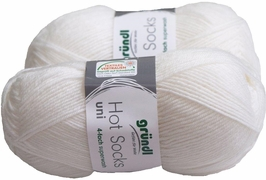 100g GERMAN Silky Solid SuperWash SOCK Yarn Hot Sox UNI Grundl White