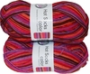 100g GERMAN Silky Self Striping SuperWash SOCK Yarn Hot Color Grundl 401