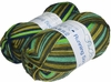 100g GERMAN Silky Self Striping SuperWash SOCK Yarn Running Print Grundl Green Multi