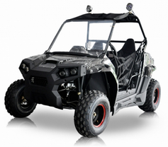 BMS Avenger 150 UTV -  Calif Legal- Kids Size, AutoMatic+Reverse, w/ Windshield & Roof Lights -