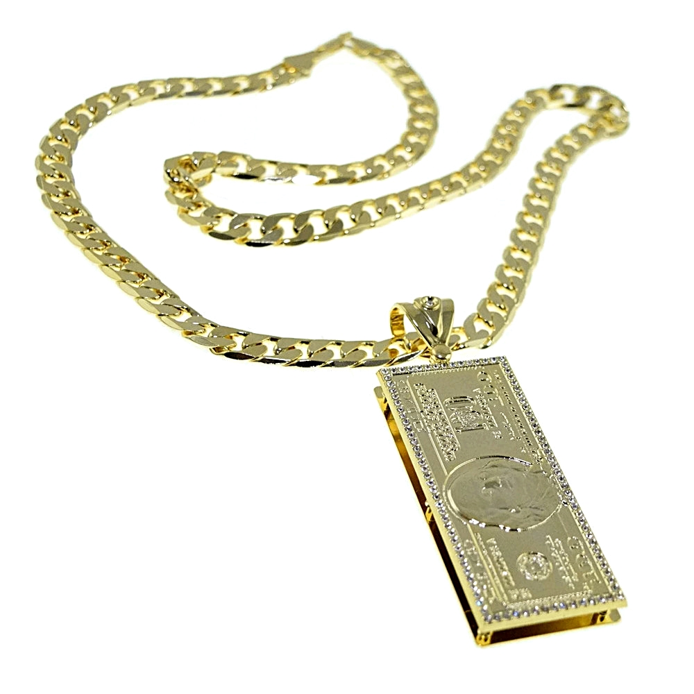 100 dollar bill pendant chain chains