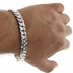 9mm Curb Bracelet Silver Plated 9 Inch