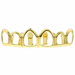 6 Open 14k Gold Plated Top Grillz