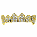 18K Gold Plate CZ Top Fangs