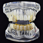 18K Gold Plated CZ Grillz Combo