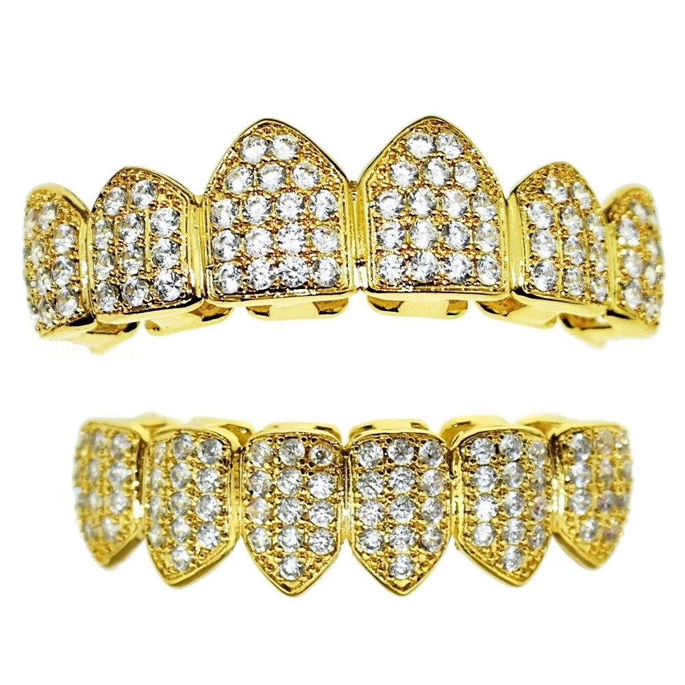 18k Gold Plated Cz Grillz Set Grillz All Pieces