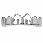 2 Open Silver Tone Top Row Grillz