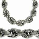 20MM Silver Tone Rope Chain Necklace