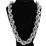 "20MM 36"" Silver Tone Rope Chain"