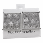Square Silver 22MM Screw Earrings