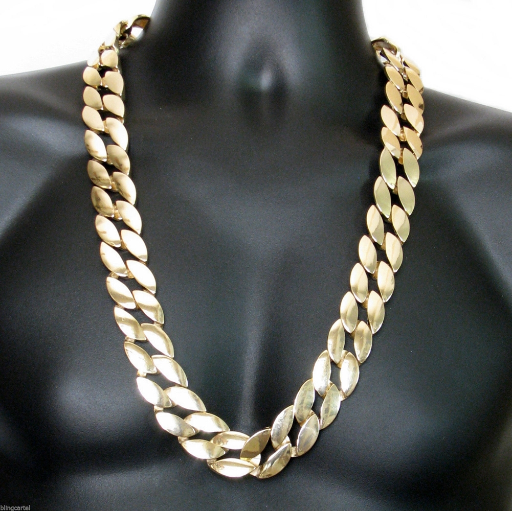 25mm 30 Quot Cuban Link Gold Plated Chain Hip Hop Chains