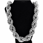 "25 MM 36"" Silver Tone Rope Chain"
