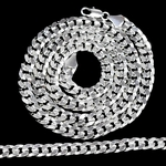"30"" Cuban Curb Silver Plated Chain"
