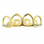 4 Open Icy Gold Plated Top Grillz