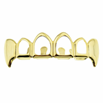 4 Open Fang Gold Top Grillz