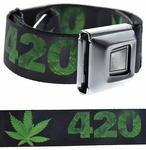 420 Marijuana Leaf Buckle-Down Belt