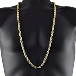 8MM Gold Plated Rope Chain 36""