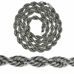 "9 mm Silver Plated 36"" Rope Chain"