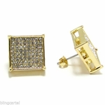 Big 15mm Gold Tone Square Earrings