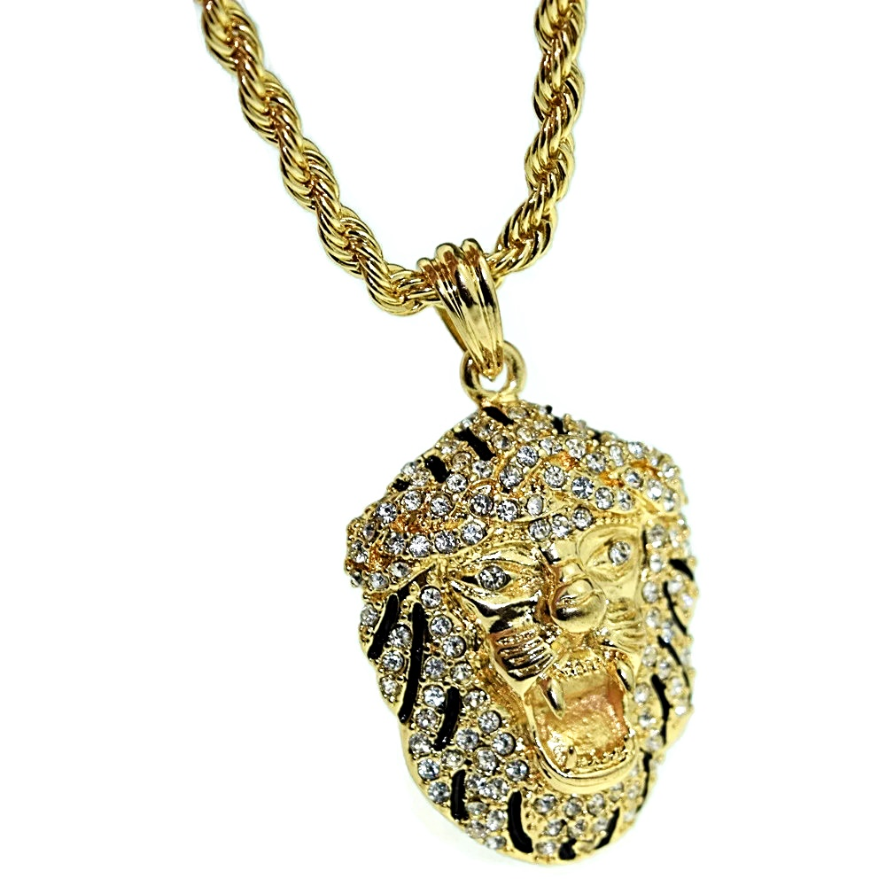 "Black Gold Lion 24"" Chain - Chains"