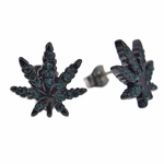 Black & Green Weed Leaf Earrings