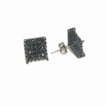 Black Square Bling Stud Earrings