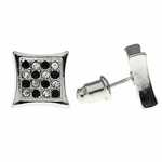 Checkered B&W Kite Bling Earrings