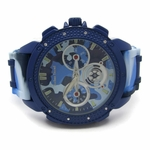 Blue Camo Iced-Out Hip Hop Watch