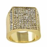 Chunky Iced-Out Gold Finish Ring